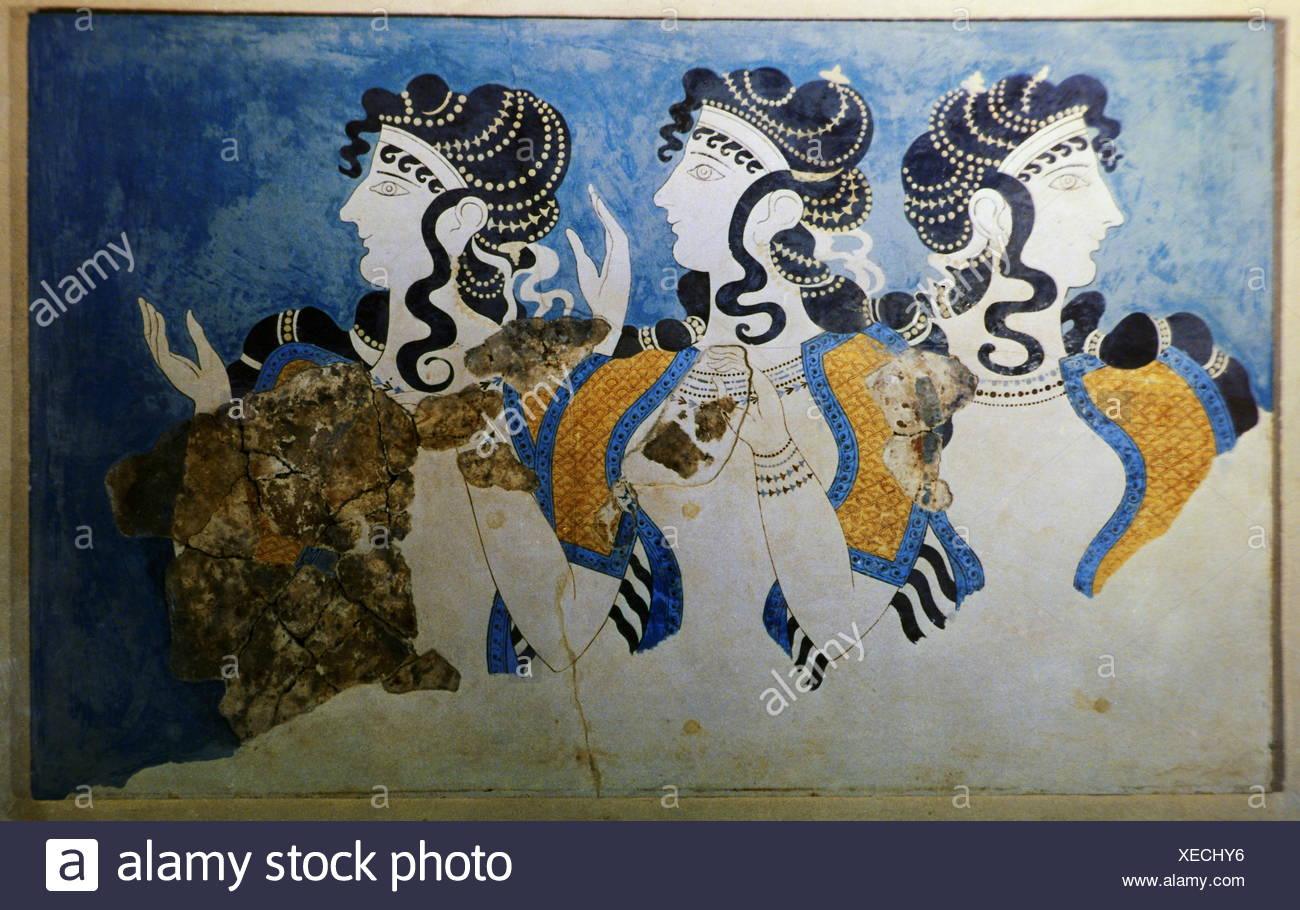 geography / travel, Greece, ancient world, Crete, Knossos, Minoan culture, The Blue Ladies, Heraklion Museum, women, fashion, Minoan, mediterranean, Southern Europe, Europe, Mediterranean region, Mediterranean area, fresco, frescos, frescoing, mural painting, wall painting, murals, mural paintings, wall paintings, wallpainting, wallpaintings, art of painting, fine arts, art, ancient world, ancient times, Knossos, Knossus, Cnossus, culture, cultures, museum, museums, historic, historical, woman, women, female, 1980s, ancient world, 20th century, people, Additional-Rights-Clearences-NA - Stock Image