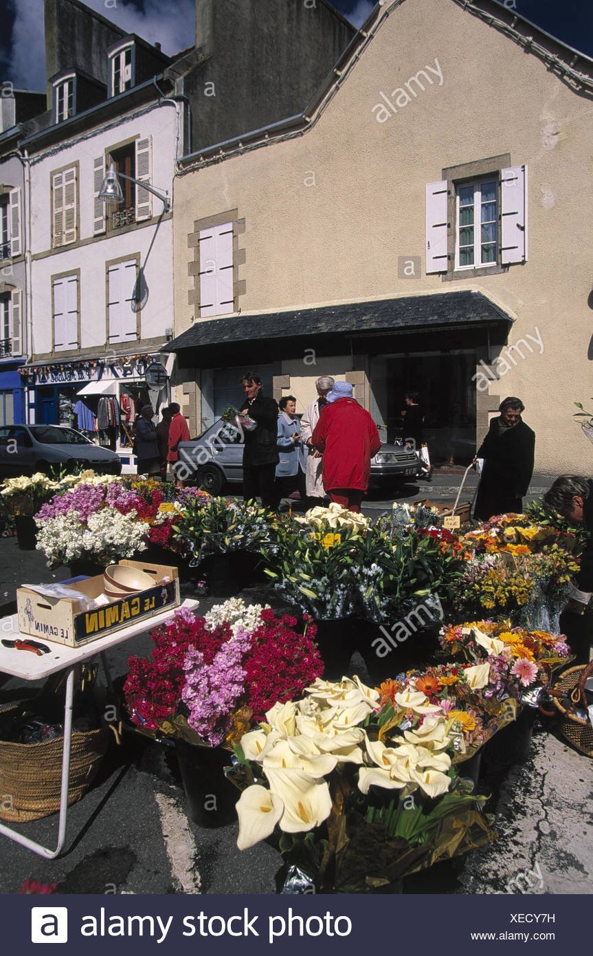 Frankreich, Bretagne, Douarnenez,  Wochenmarkt, Verkauf, Blumen no model release, Europa, Markt, Pflanzen, Schnittblumen, verkaufen, einkaufen, Wirtschaft, außen, BT - Stock Image
