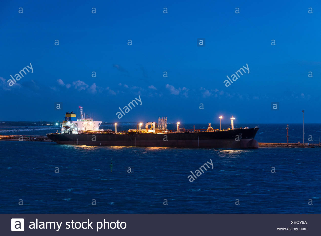 Crude oil tanker ship, Livorno, Italy. - Stock Image