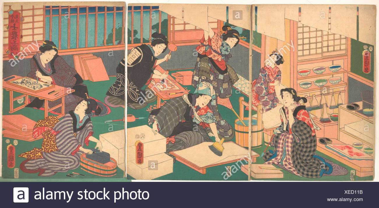 Artisans, from the series An Up-to-Date Parody of the Four Classes. Artist: Utagawa Kunisada (Japanese, 1786-1865); Period: Edo period (1615-1868); - Stock Image