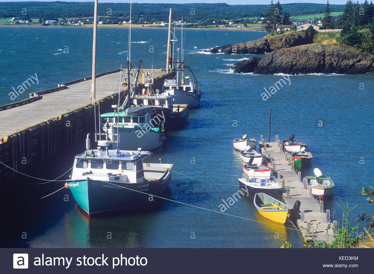 Fishing boats tied up at Baxters Harbour, Nova Scotia Canada - Stock Image