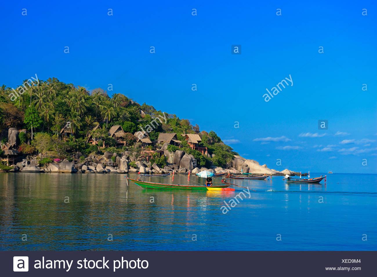 Boats, Sai Ree, Beach, Koh Tao, Thailand, Asia, Stock Photo
