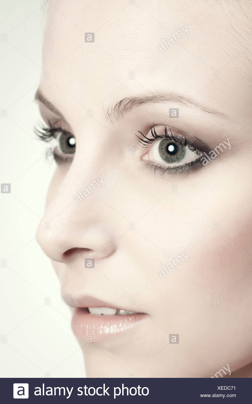 Face of young woman, portrait - Stock Image