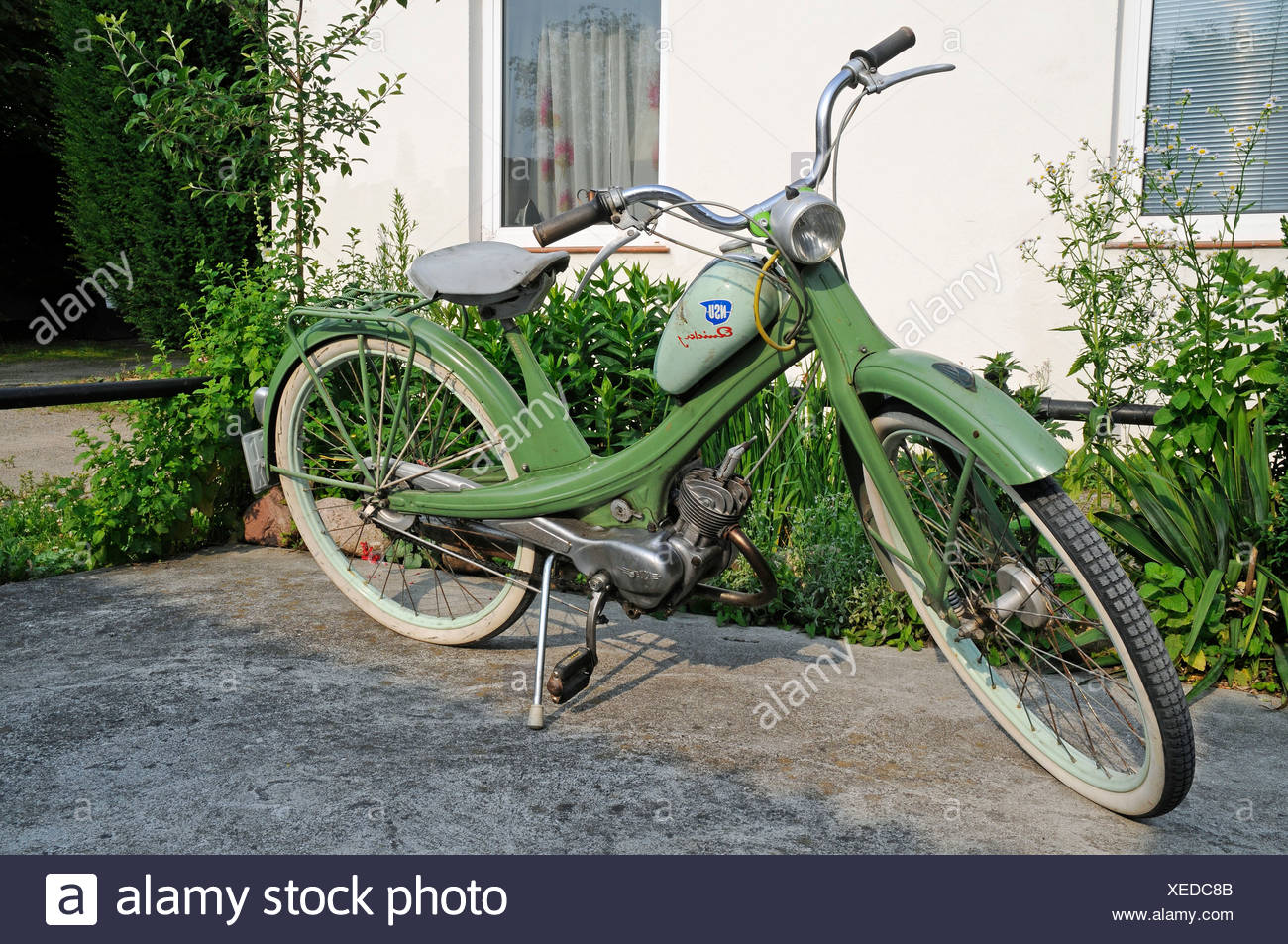 NSU Quickly moped, historic motor-assisted pedal cycle, autocycle, from the post-war era, Wirtschaftswunder era in Germany - Stock Image