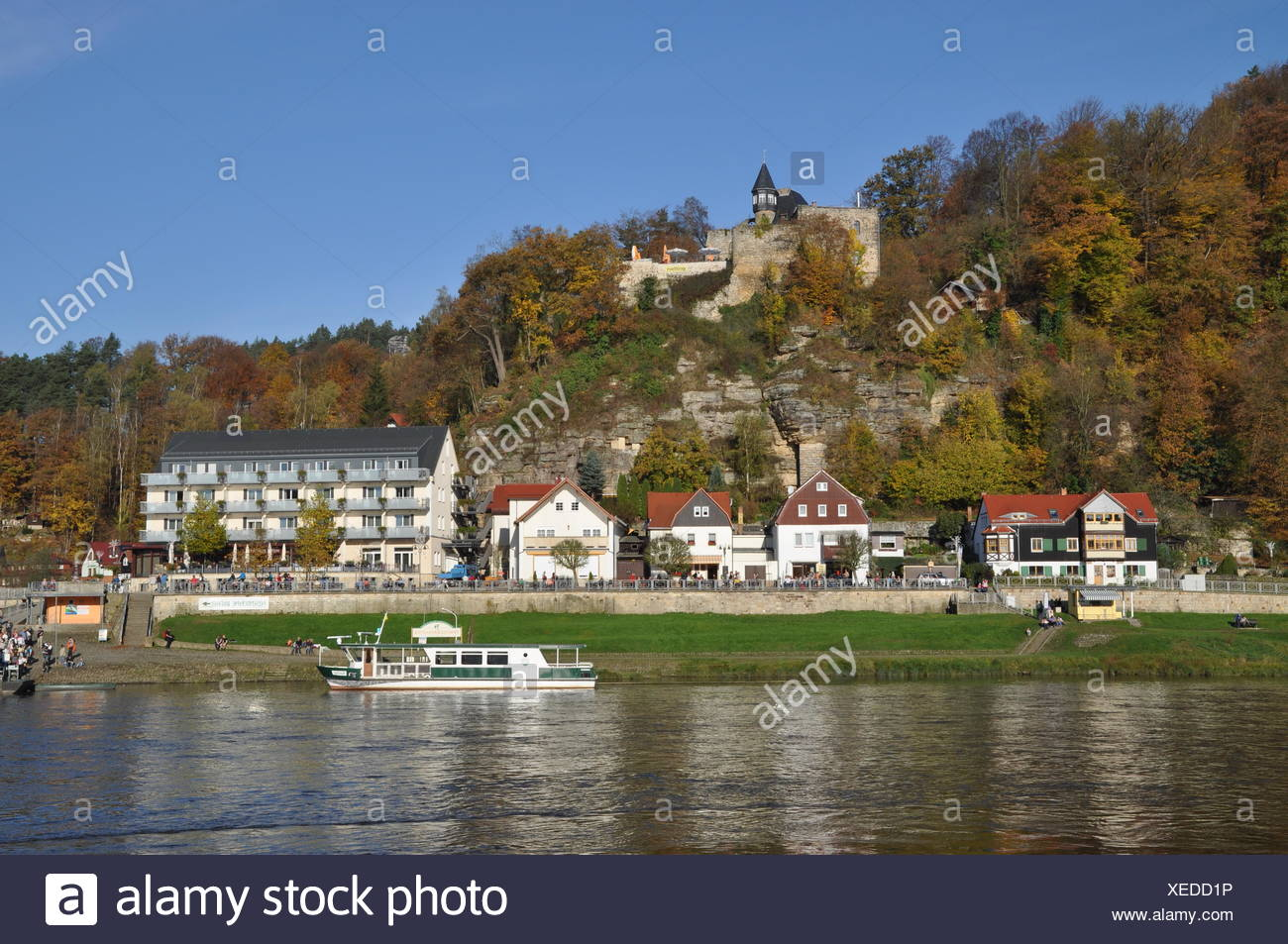 Rathen and Altrathen at Elbe - Stock Image