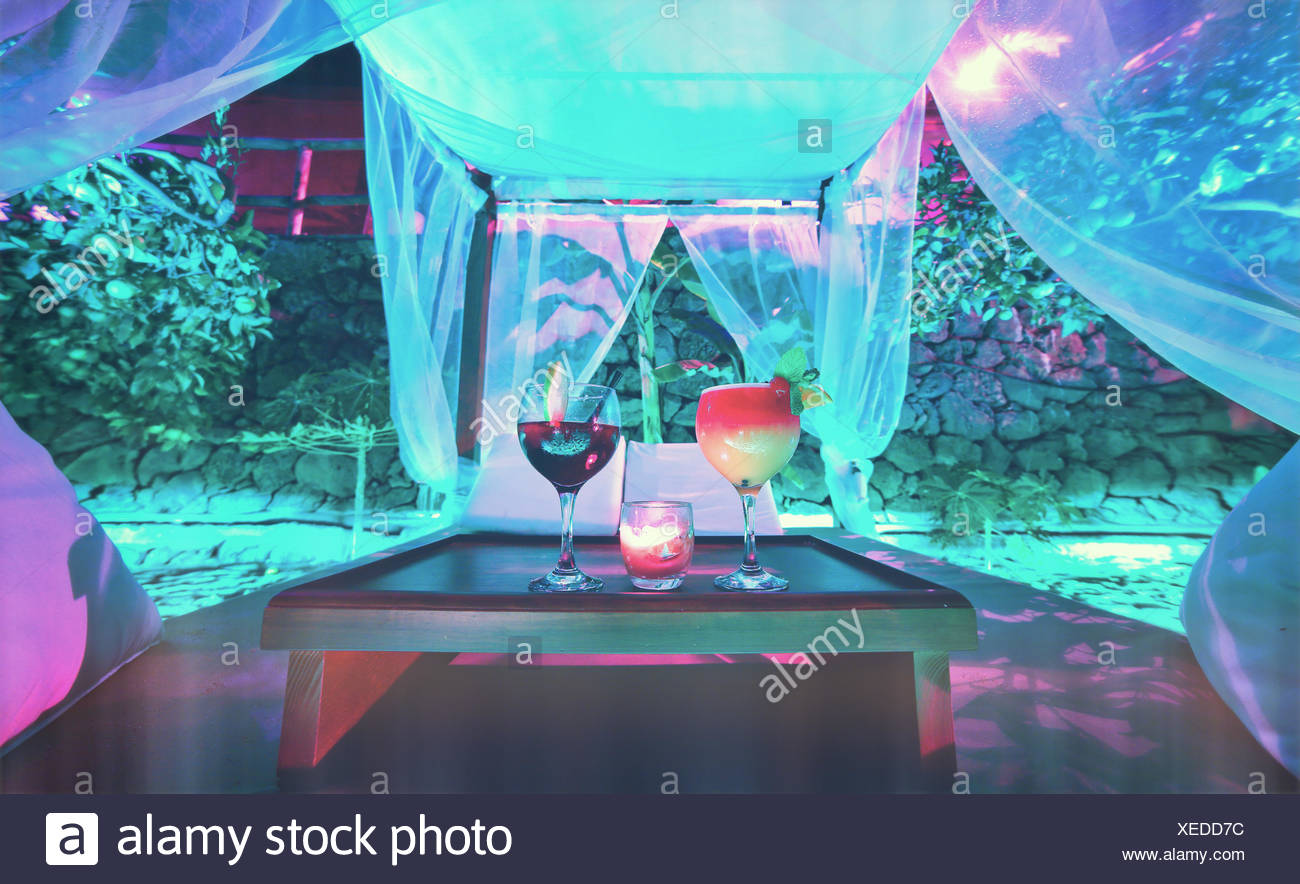 Fresh Drinks Served On Table In Restaurant Stock Photo