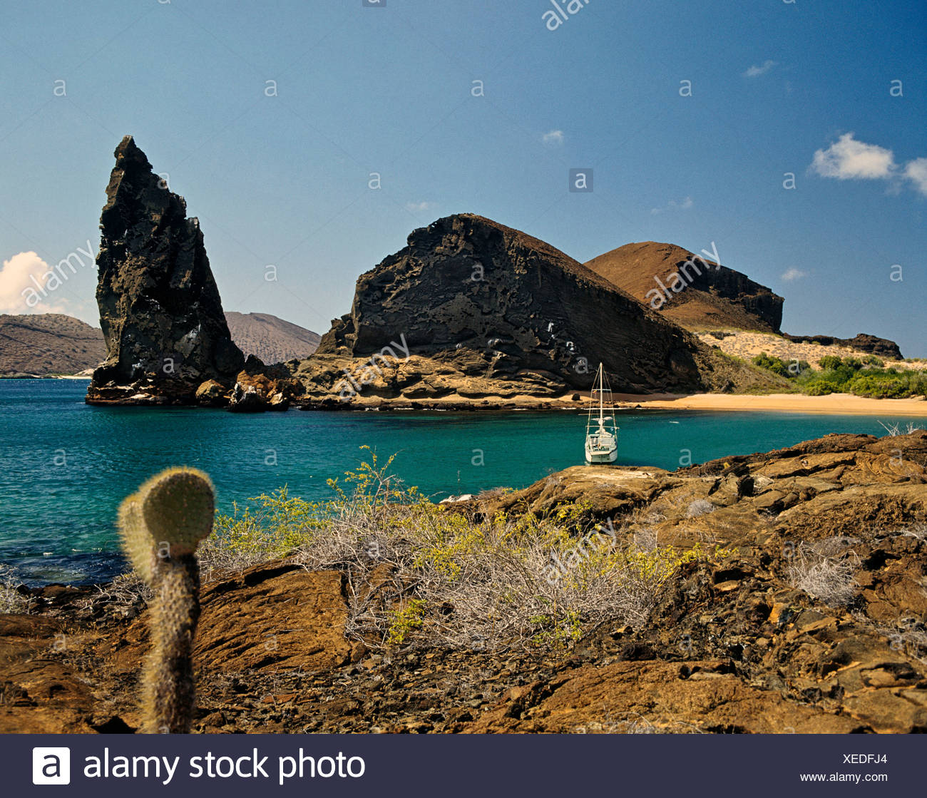 Pinnacle Rock, Pináculo, Bartolome Island, Galapagos Islands, Ecuador - Stock Image