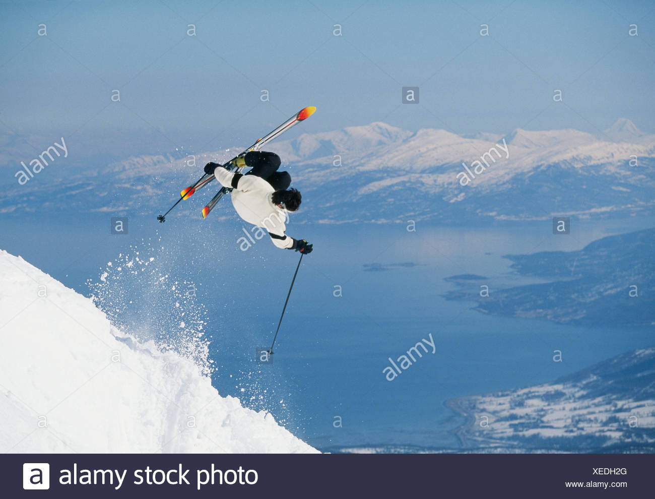A skier, Narvik, Norway. - Stock Image