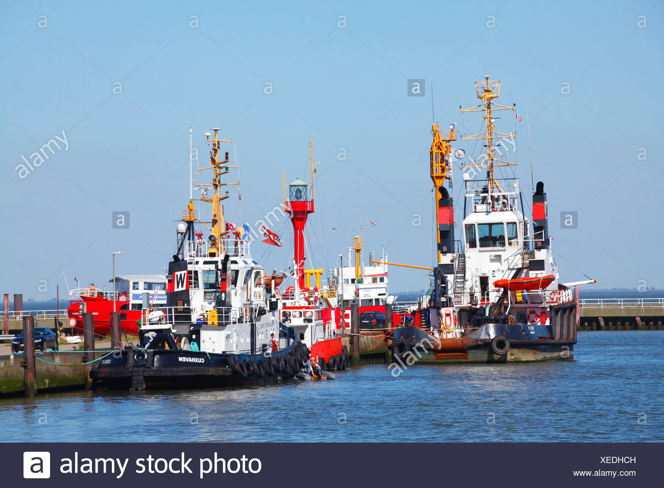 Preharbour with ocean-going tugs, Cuxhaven, Lower Saxony, Germany, Europe - Stock Image