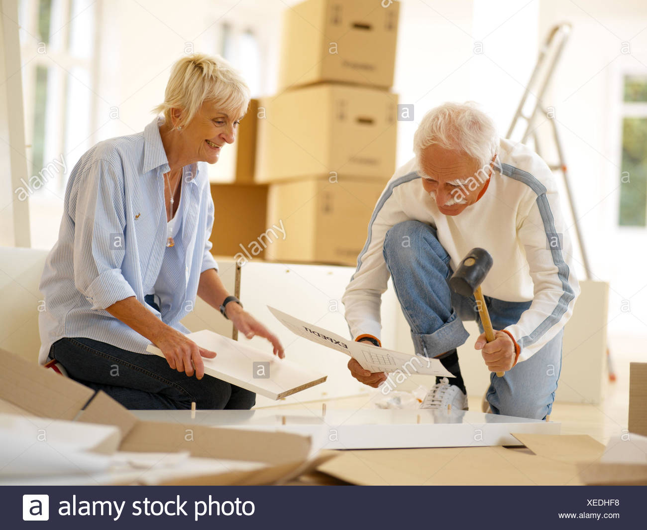 Procession, Senior couple, St. furniture, assemble, concentration, 60-70 years, senior citizens, couple, flat change, move, cupboard, build up, assembly, instructions, construction instructions, read, do-it-yourselfers, do it yourself, together, Teamwork, - Stock Image