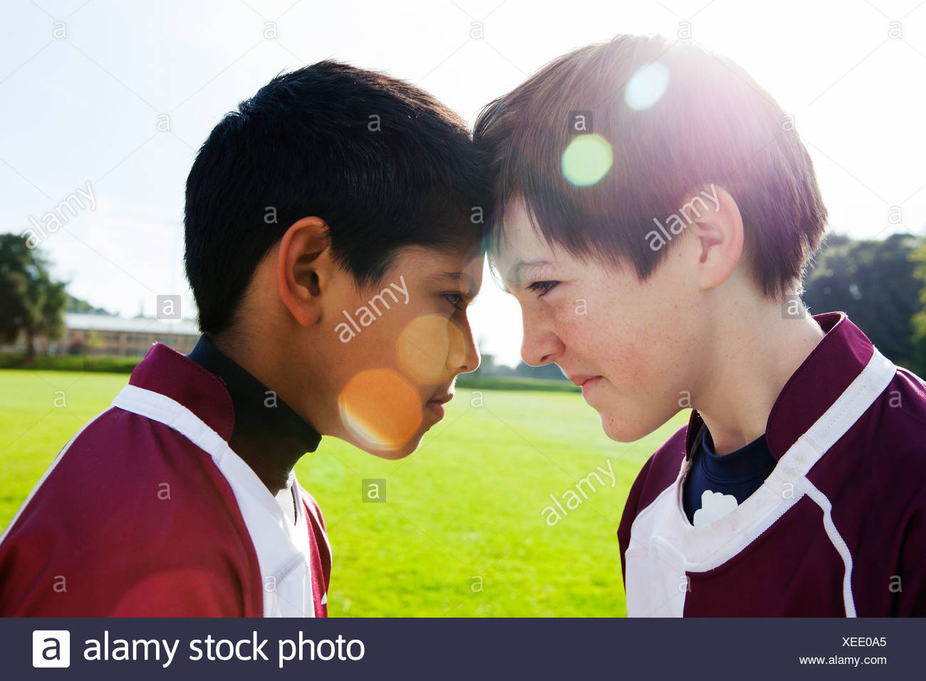 Two teenage schoolboys face to face - Stock Image