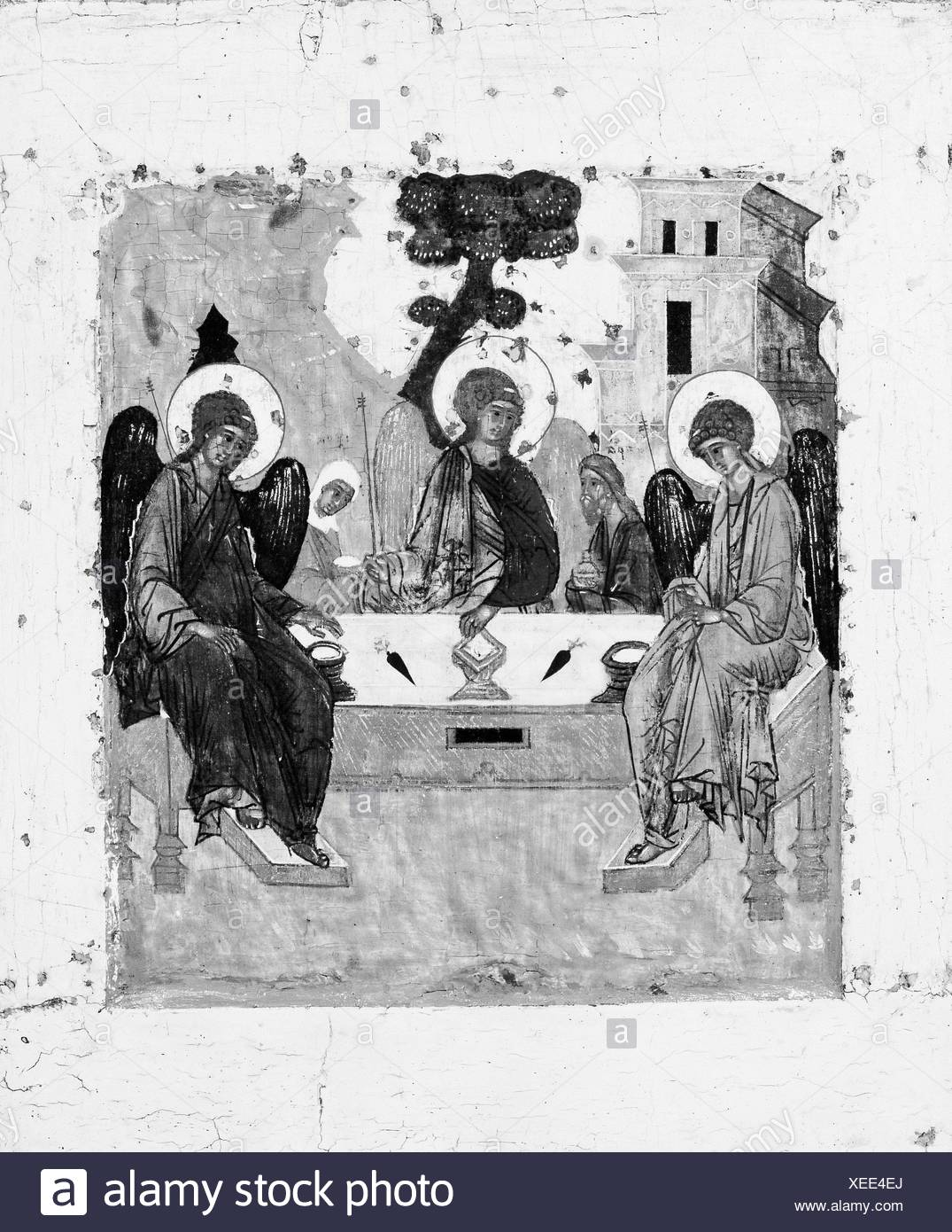 The Trinity. Artist: Russian Painter (possibly 17th century); Medium: Tempera on wood; Dimensions: 12 7/8 x 10 5/8 in. (32.7 x 27 cm); - Stock Image