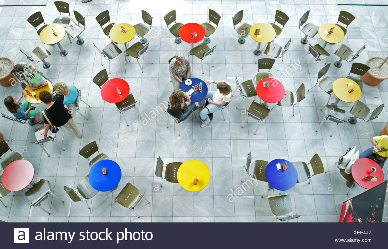 cafe,blue,order,tables,disorder,chair,red,yellow - Stock Image