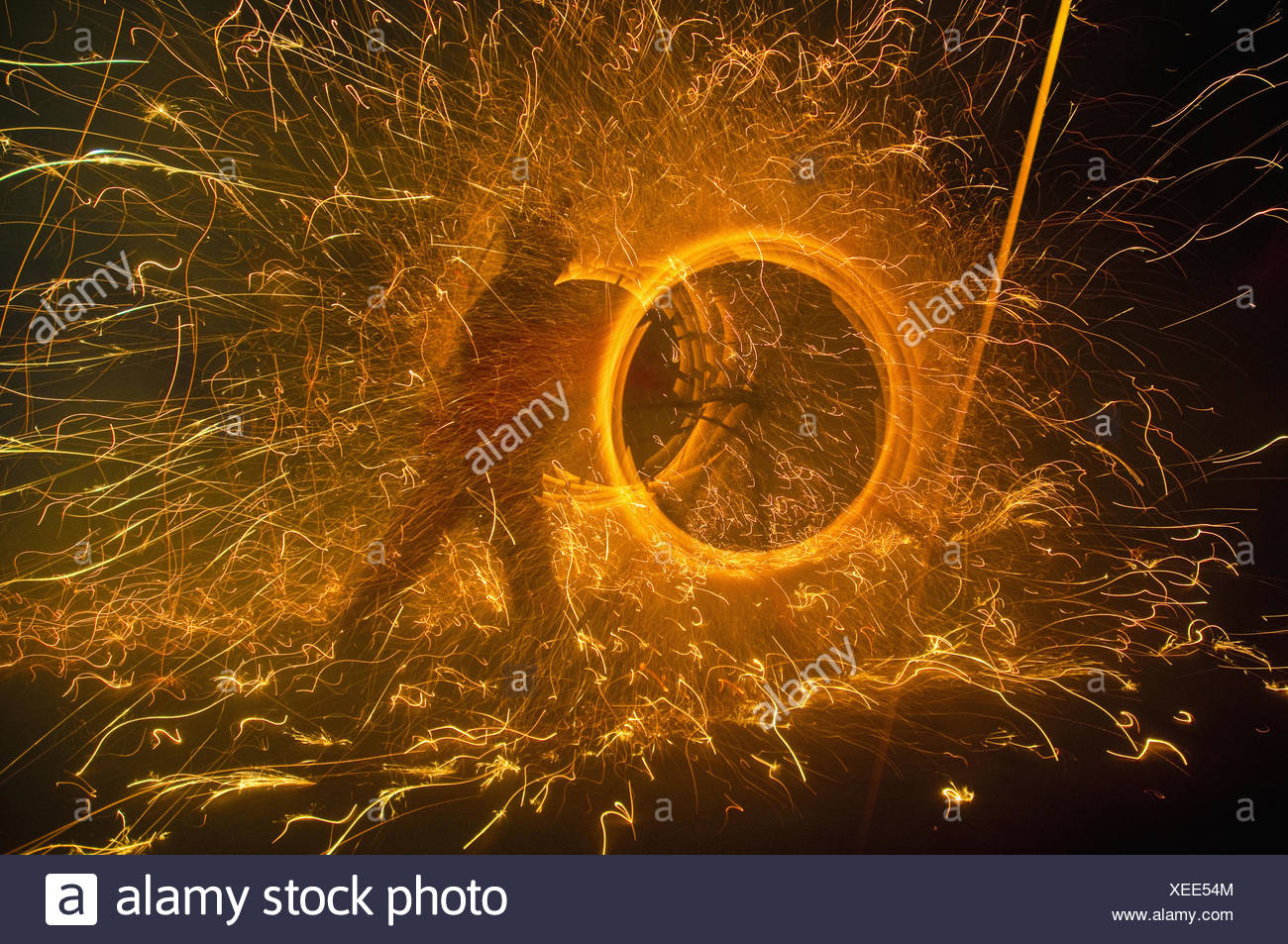 Fire Festival of the Catalonian Regions - Stock Image