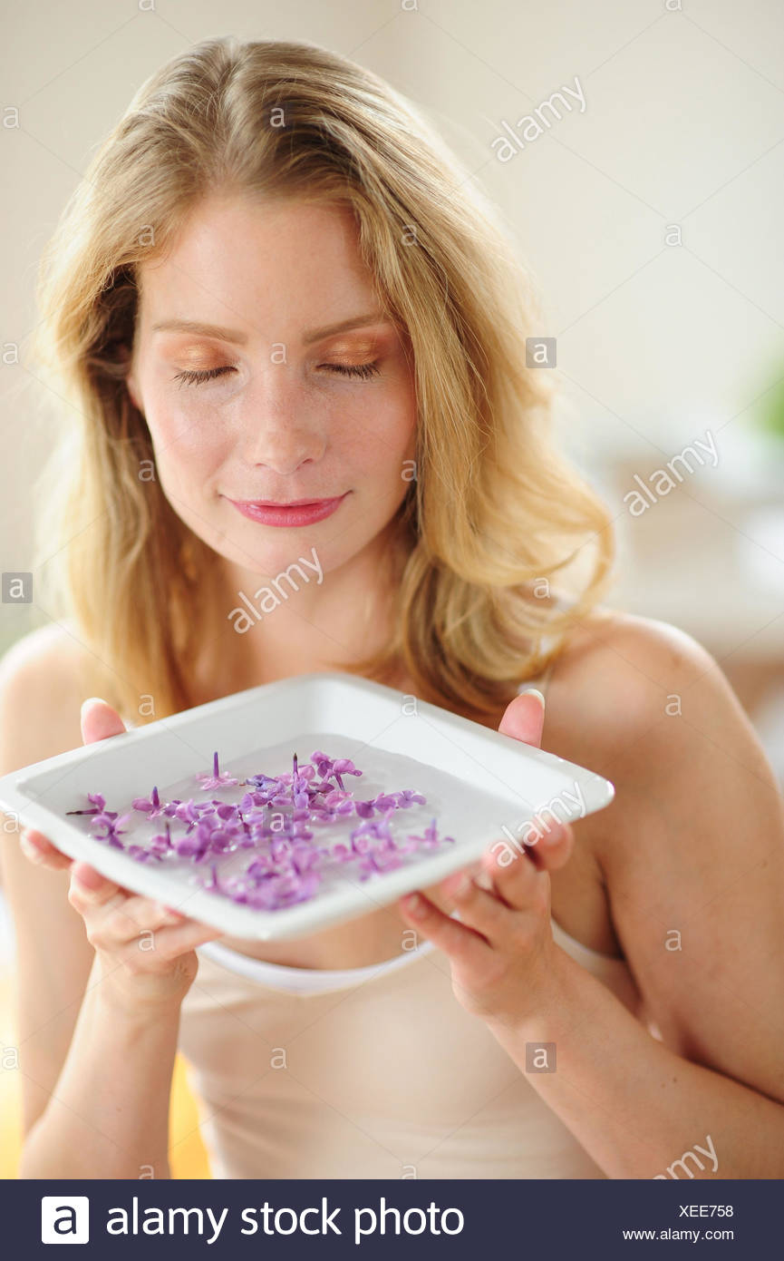 Young woman with aromatic therapy, - Stock Image
