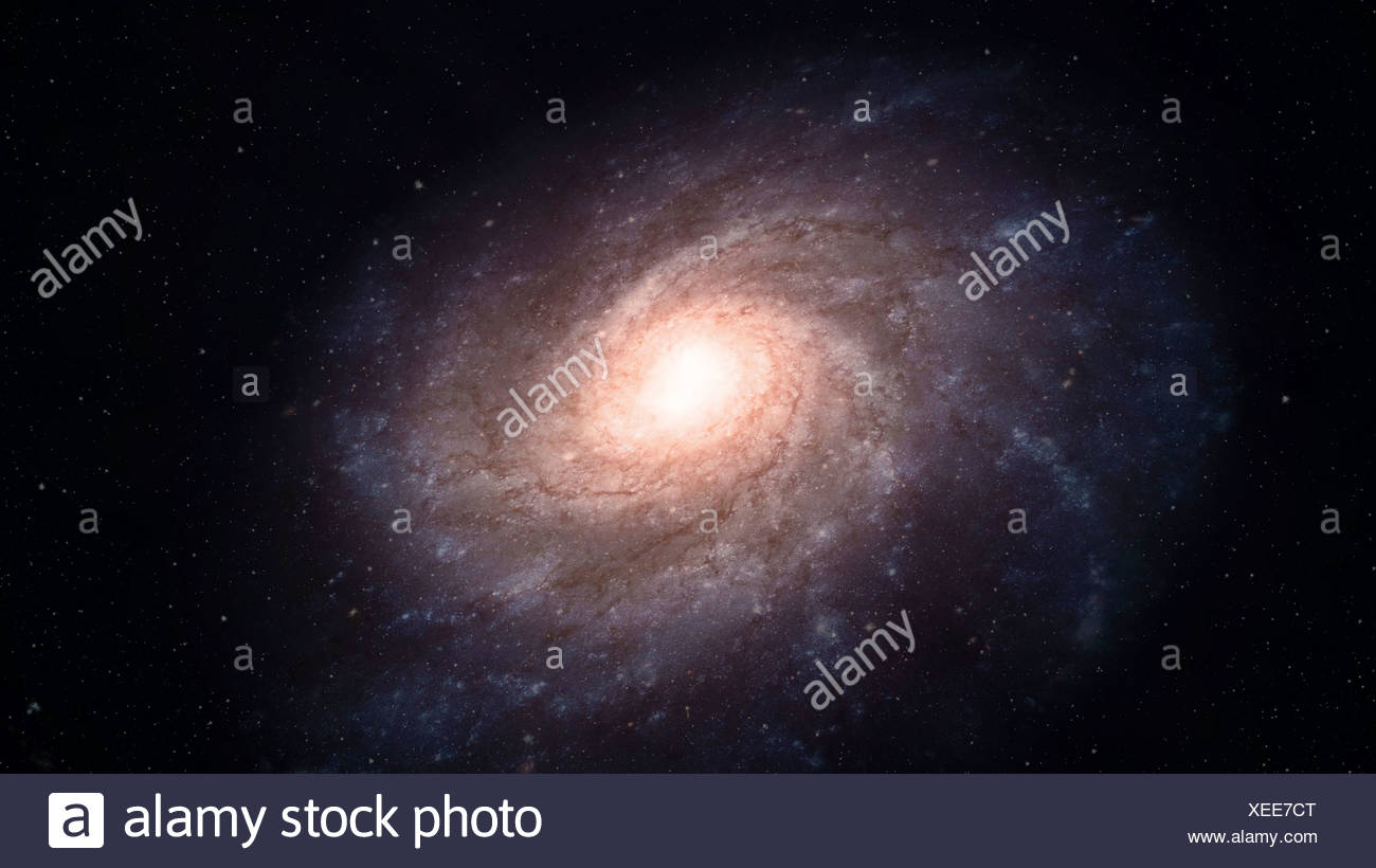 Spiral galaxy, artwork - Stock Image