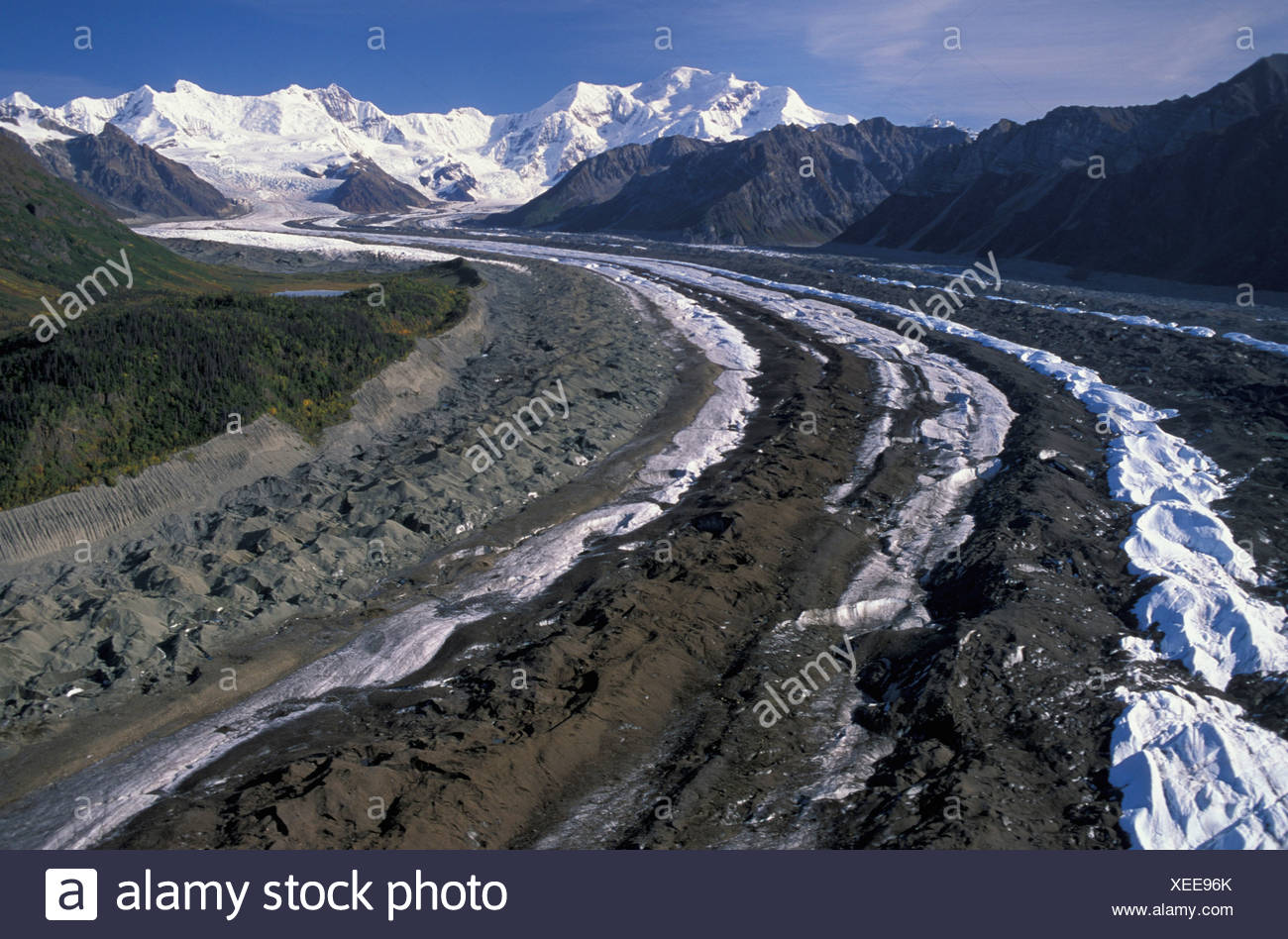 aerial View, Wrangell, mountains, Wrangell, St. Elias, National Park, near McCarthy, Alaska, USA, trench, grooves, scratches, gl - Stock Image