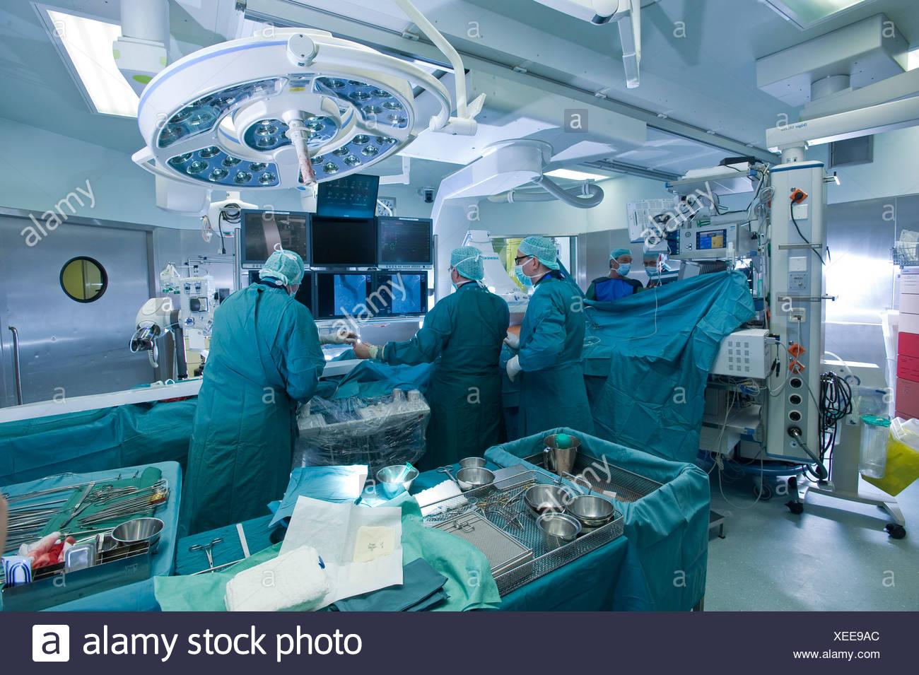 Cardiac surgery in a hybrid operating room, Deutsches Herzzentrum Berlin or German cardiac center, Berlin, Germany, Europe - Stock Image