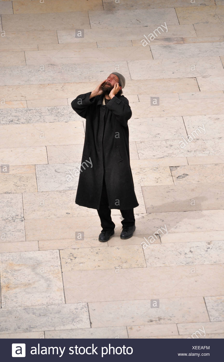 Jewish man praying, worshiper at the Wailing Wall, Jerusalem, Israel, Middle East, Southwest Asia - Stock Image