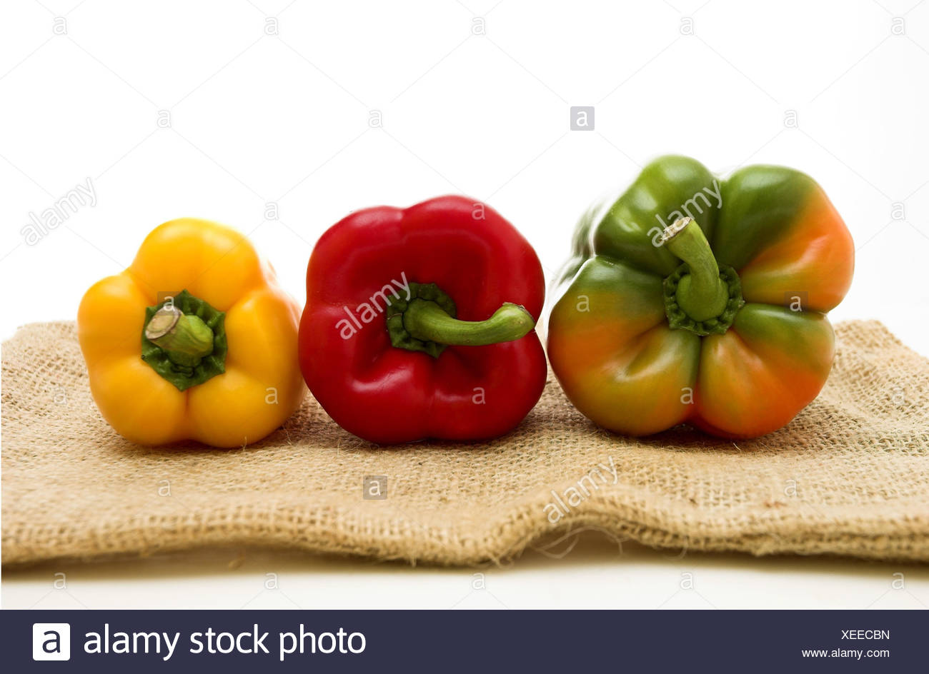 Paprika, peppers, three, vegetables, rich in vitamins, healthy, paprika sorts, brightly, different, freshly, food, eat, choice, three, jute, jute pouch, studio, vitamins, raw vegetarian food, - Stock Image