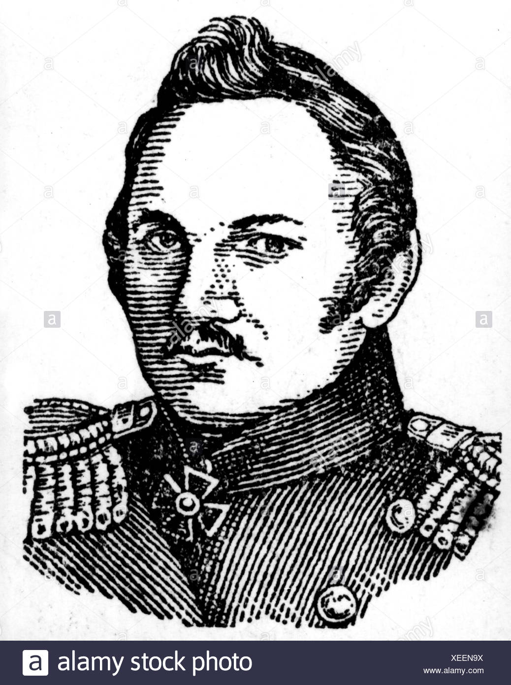 Bellingshausen, Fabian von, 20.9.1778 - 25.1.1852, Russian navigator and Antarctic explorer, portrait, later drawing, Additional-Rights-Clearances-NA - Stock Image