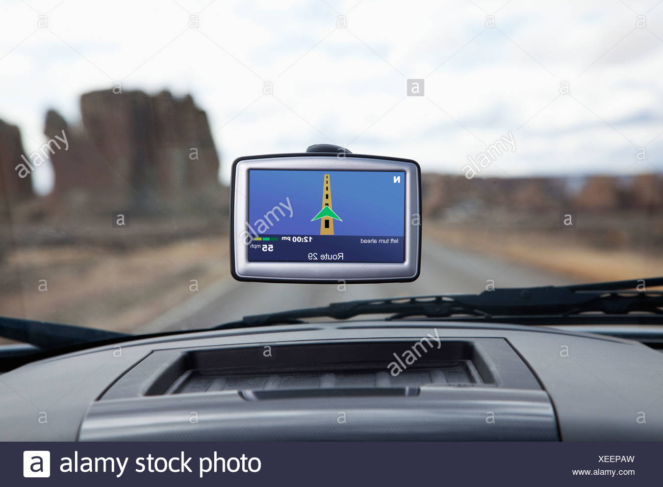 USA, New Mexico, automotive navigation system in car - Stock Image