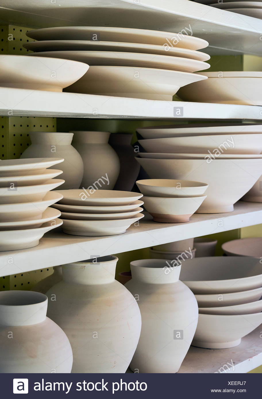 Unglazed earthenware in a pottery studio, Vermont, USA - Stock Image