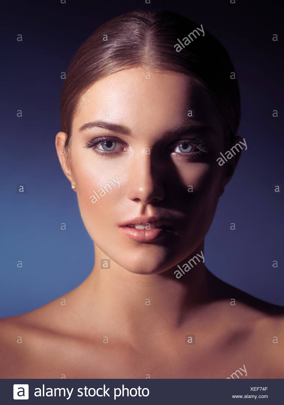 Woman with natural makeup and spotless skin Stock Photo
