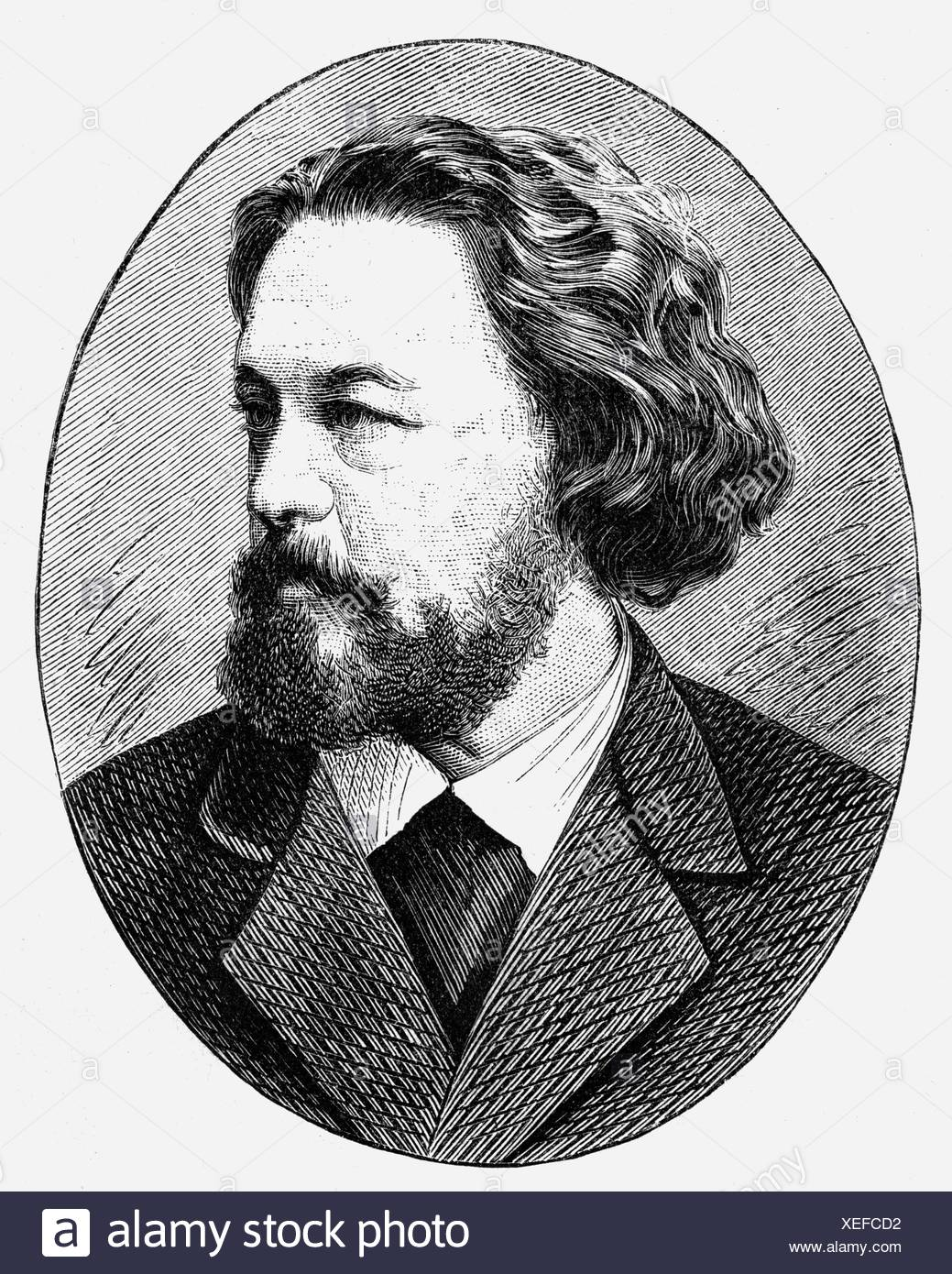 Heyse, Paul, 15.3.1830 - 2.4.1914, German author/writer, portrait, wood engraving, 19th century, Additional-Rights-Clearances-NA - Stock Image