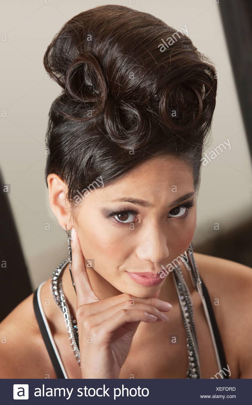 Serious Female In Retro Hairdo Stock Photos Serious Female In