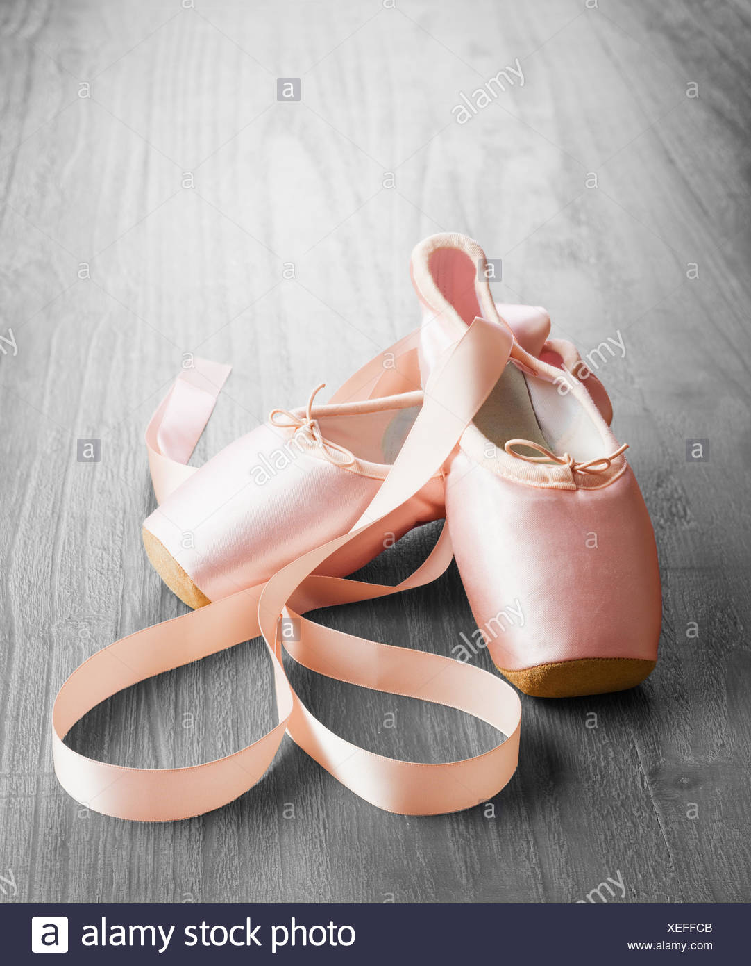 new pink ballet pointe shoes - Stock Image