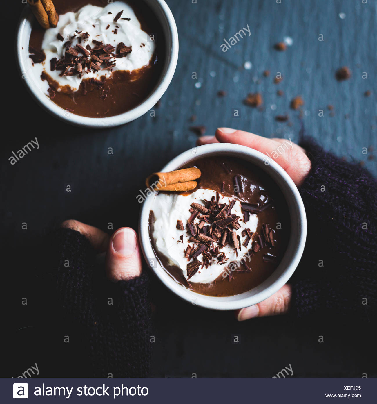 Dairy-free version of champurrado, almond milk forms the base for spiced hot chocolate thickened with masa harina, all decked ou - Stock Image