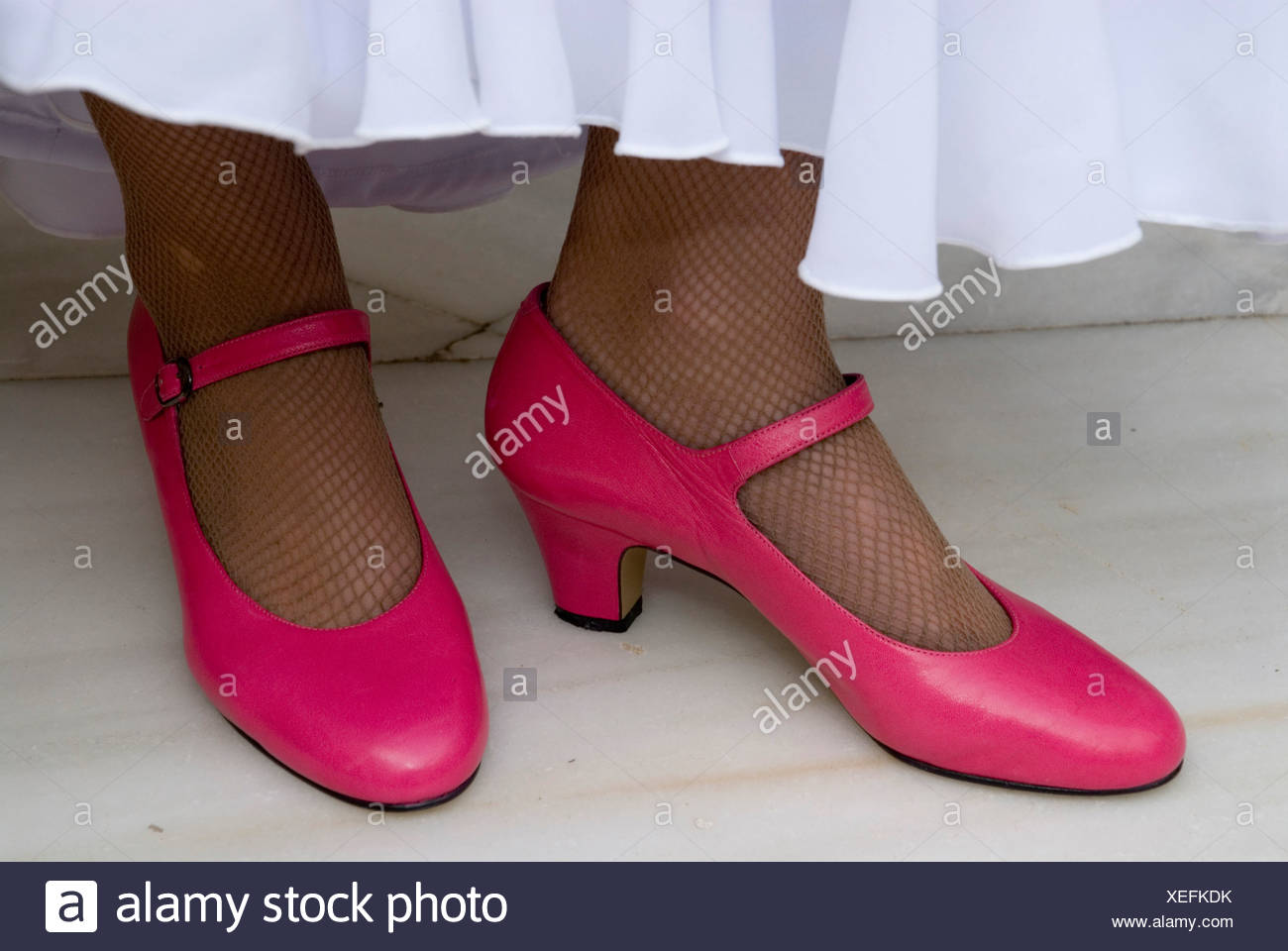 Flamenco dancer with pink shoes, Conservatorio de Danza, Sevilla, Andalusia, Spain, Europe Stock Photo