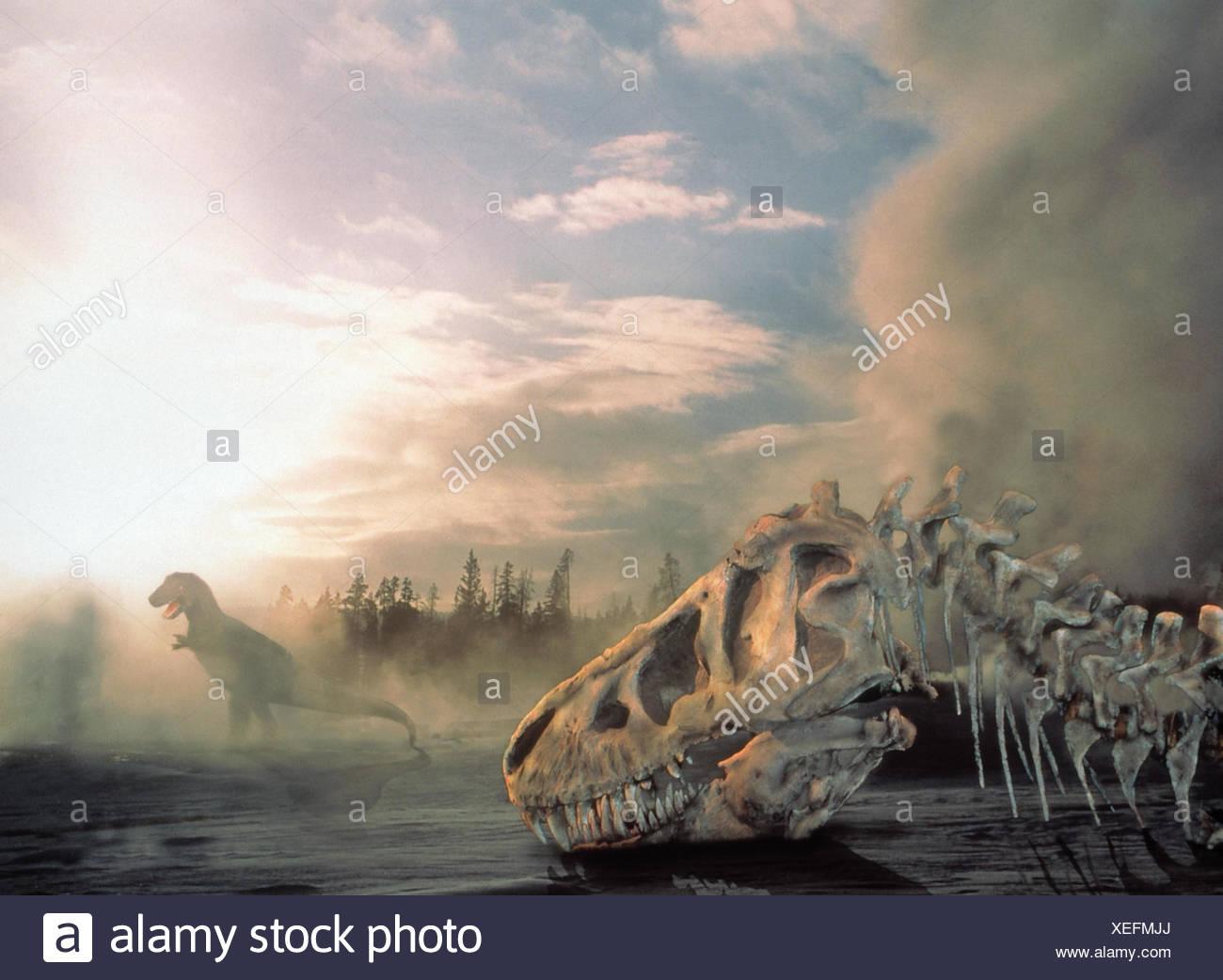 Scenery, simulations, dinosaurs, dinosaur skeleton, fog primeval times, primordial animals, prehistorically, wood, old animal, extinct, predator, past - Stock Image