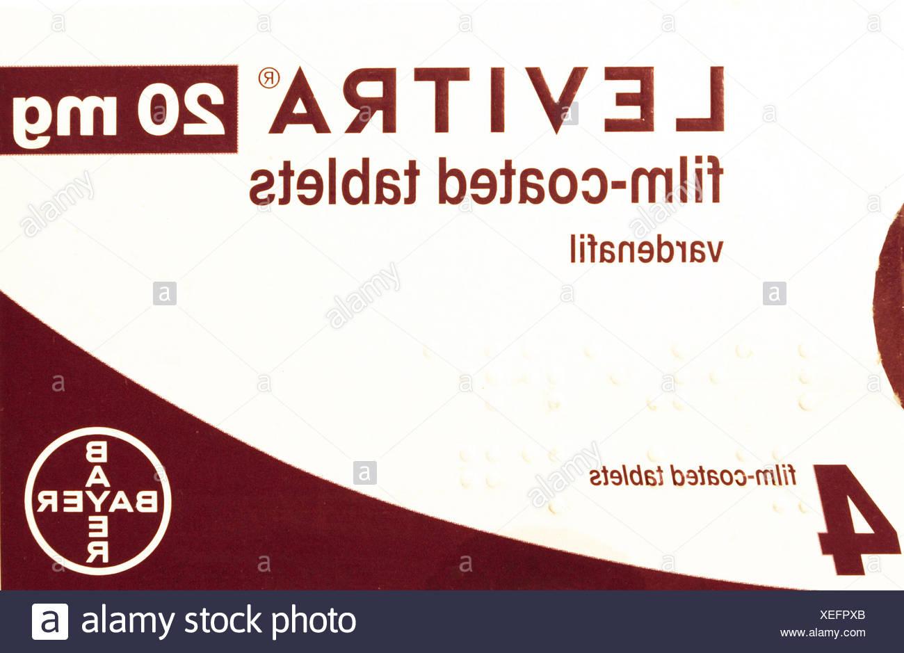 Levitra 20mg tablets, pack, vardenafil, erectile dysfunction tablet, cure, prescription drug, drugs medicine medicines viagra - Stock Image