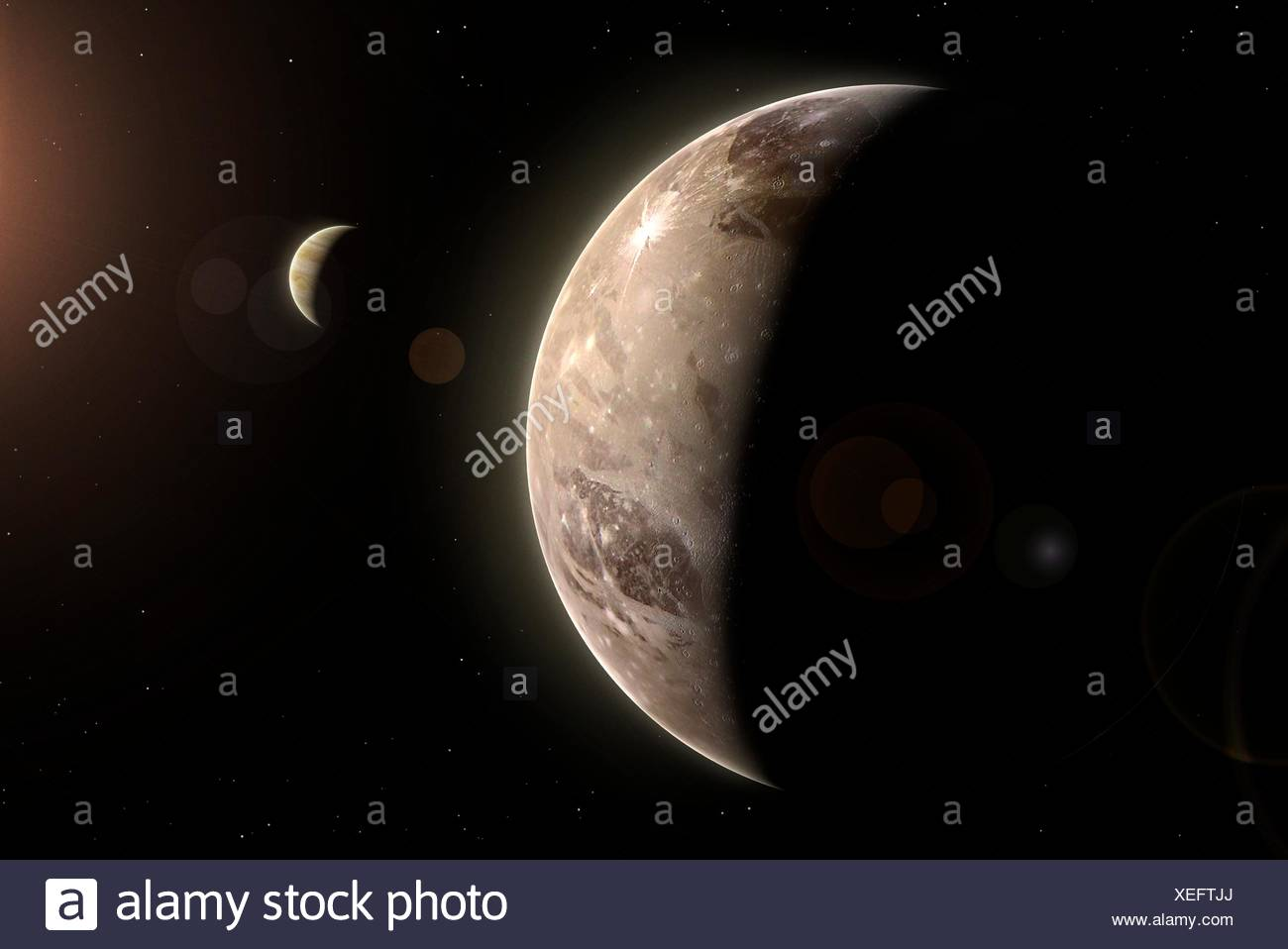 Ganymede is the largest of the four Galilean moons of Jupiter - indeed the largest moon of any known planet, bigger even than Mercury. Its surface is a mixture of ice, fractures and craters. Jupiter is also seen in the background. - Stock Image