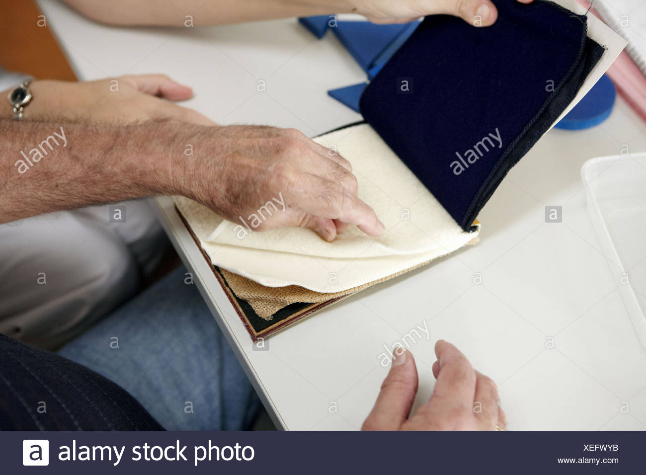 Occupational therapy, textures: shape and texture recognition exercise, exteroception. Hospital Universitario de Gran Canaria Stock Photo