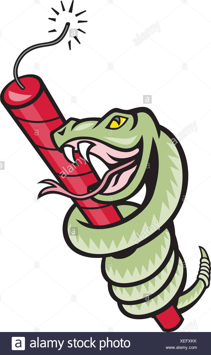 Rattle Snake Coiling Dynamite Cartoon - Stock Image