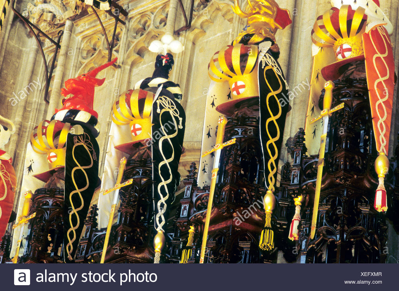Windsor St George's Chapel interior Berkshire Knights of the Order of the Garter, coat of arms heraldry England UK heraldic interiors - Stock Image