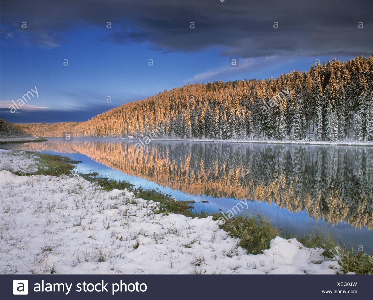 Late summer snow at Winchell Lake, Alberta, Canada. - Stock Image