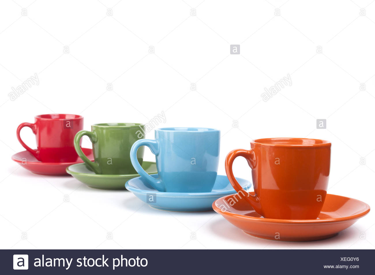 colored coffee mugs row stock photo 284323066 alamy