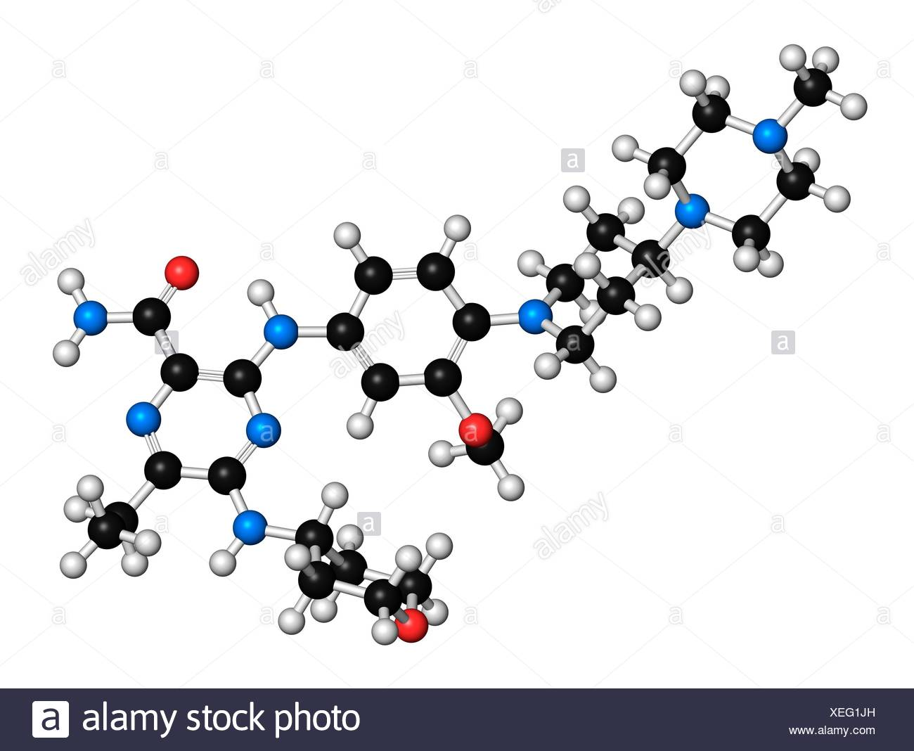Gilteritinib cancer drug molecule (kinase inhibitor). 3D rendering. Atoms are represented as spheres with conventional colour coding: hydrogen (white), carbon (black), nitrogen (blue), oxygen (red). - Stock Image