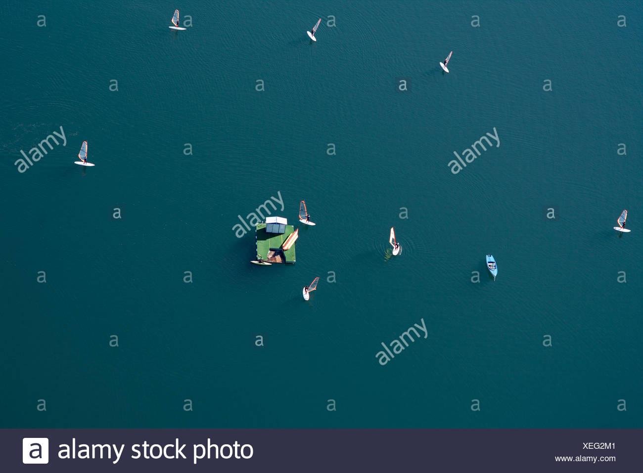 Sail boarders, Lake Millstatt, Carinthia, Austria - Stock Image