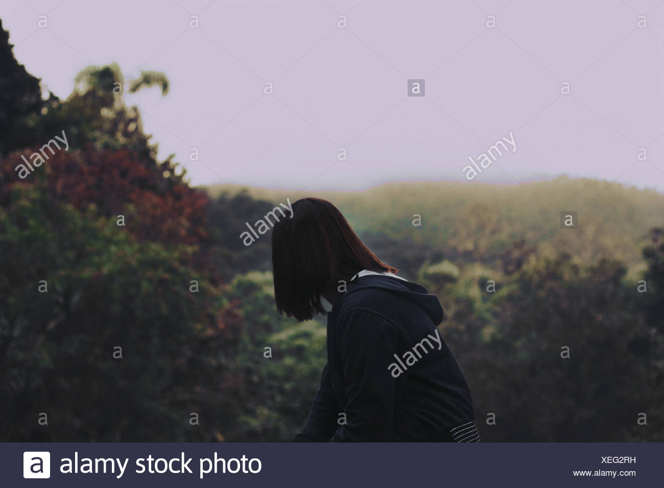 Woman Looking Away In Park - Stock Image