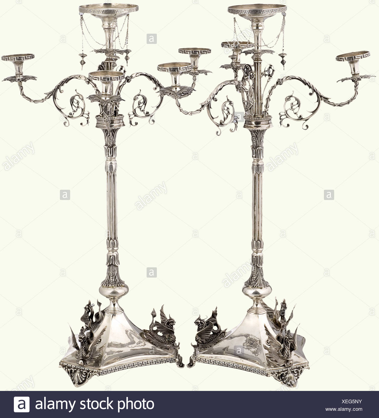 a pair of german ceremonial candelabras end of the 19th century made in several