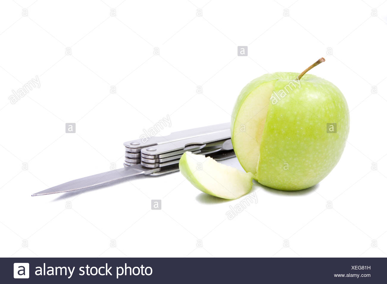 Apple and Knife - Stock Image