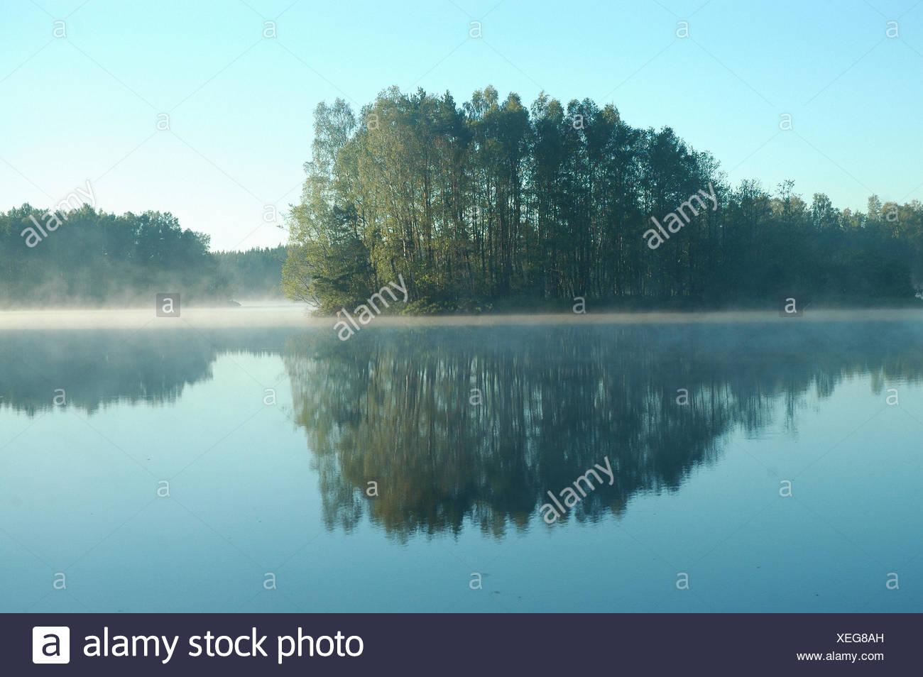 Sweden, Europe, lake, smaland, markary, store sjö, island, isle, fog, morning, summer - Stock Image