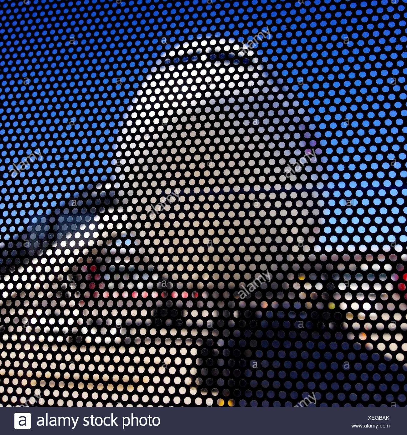 Plane viewed through metal mesh wall Stock Photo
