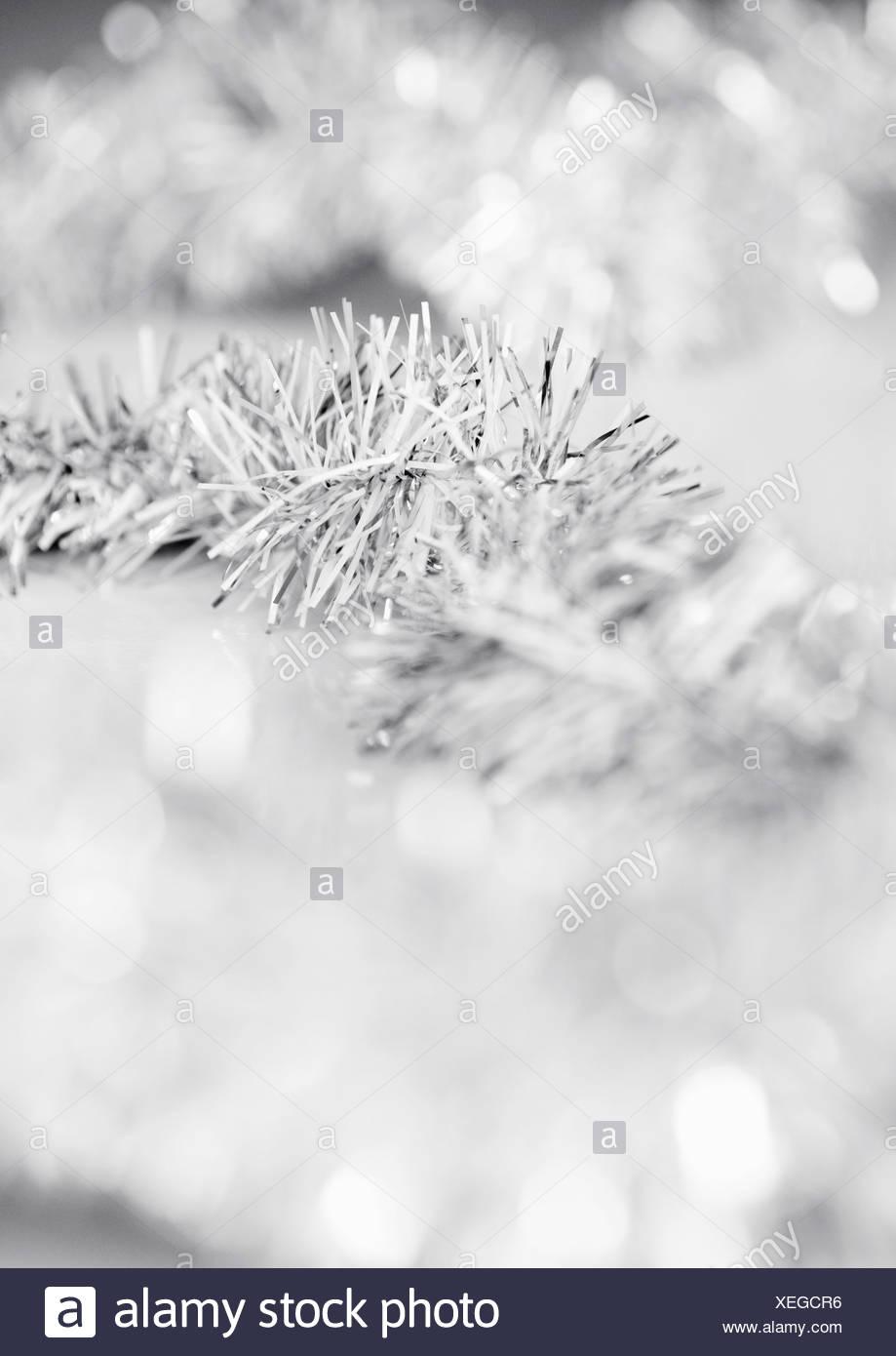 Closeup on Christmas tree tinsel - Stock Image