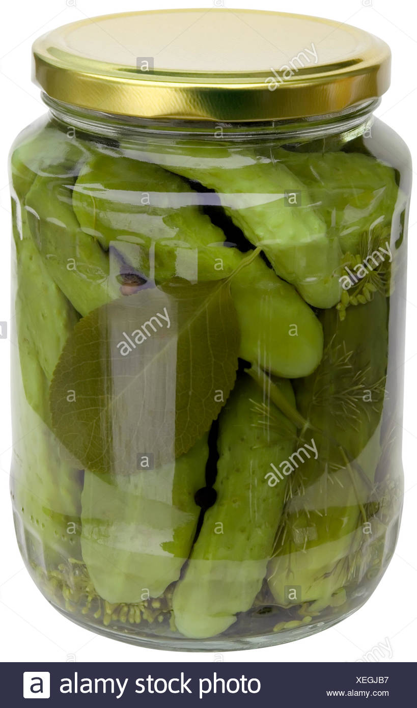 vinegar, appetizer, cutout, preserved, pickle, pasteurize, glass, chalice, - Stock Image